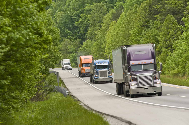 Trucks in mountains