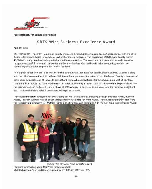 KRTS Wins Business Excellence Award