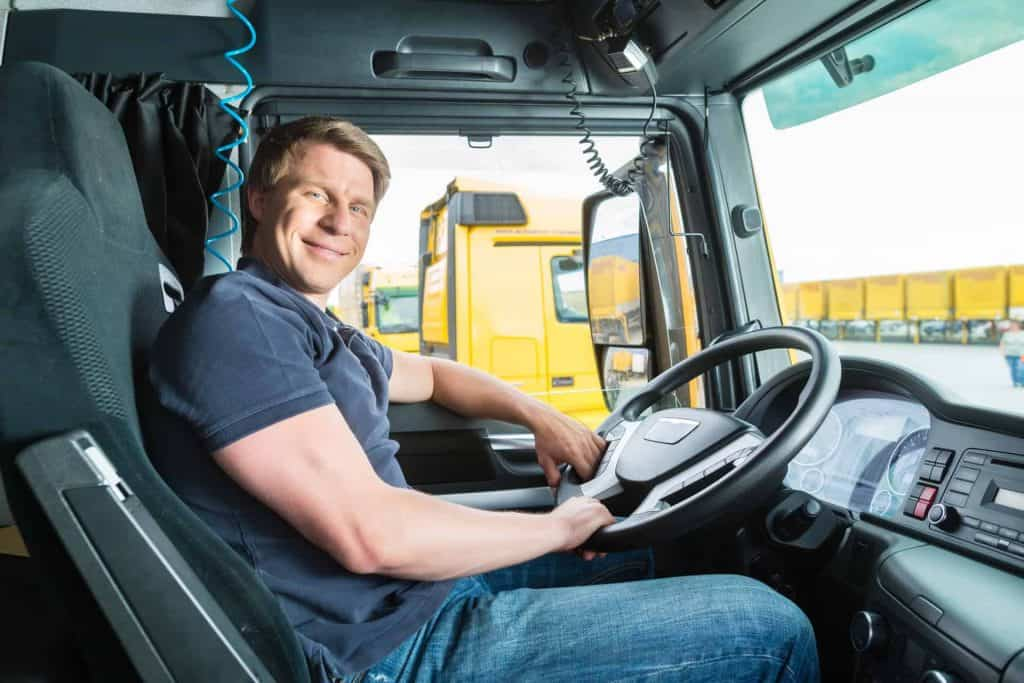 truck driver in drivers cab