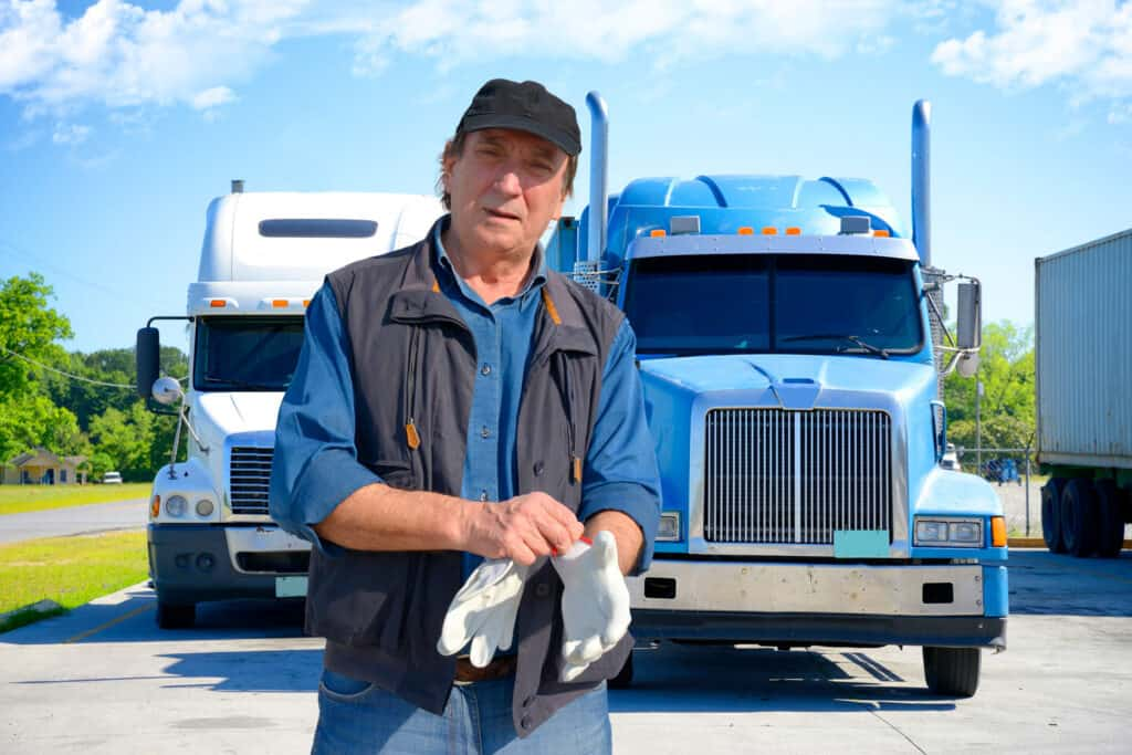 Truck-Driver-Putting-Gloves-On